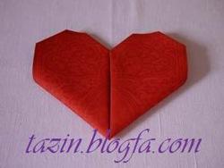 تا کردن دستمال سفره به شکل قلب